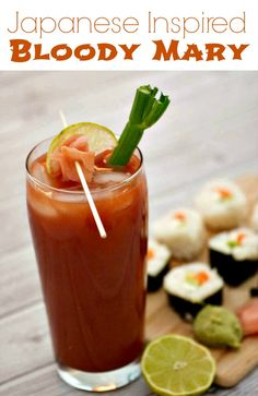 Msg 4 21+ Japanese Inspired Bloody Mary - add some lime juice and Sake to a Bloody Mary cocktail, and top it off with pickled ginger and lime. A fun drink that pairs perfectly with sushi and perfect for homgating fun.  #HomegateHacks #TeamMary [ad]