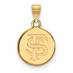 925 Sterling Silver Rhodium-plated Laser-cut University of Pittsburgh Medium Disc Pendant