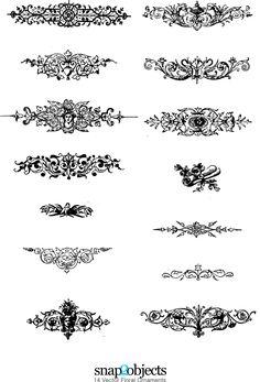 free floral ornaments vectors pack 02
