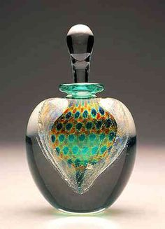 Carlyn Galerie-Art Glass Perfume Bottle ... peacock inspired