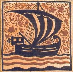 """Cerámica Artística Valencia – Azulejos y Gres - Azulejo Medieval """"Socarrat"""" - Azulejo Socarrat - Barco"""