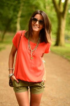 Great top and color combo, but would need longer shorts or pants (maybe Capri pants)