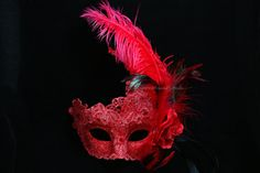 Lace Masquerade Mask with Feather - Venetian Mask Brocade Crystals Ostrich Feather Mask on Etsy, $34.95  Guest