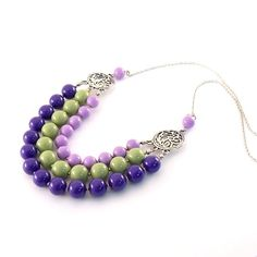 Purple and Sage Beaded Necklace Three Tier Bib by CinLynnBoutique, $30.00