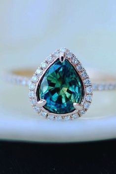 21 Sapphire Engagement Rings By Eidel Precious ❤️ eidel precious engagement rings pear shaped halo blue green sapphires engaement ring ❤️ See more: http://www.weddingforward.com/eidel-precious-engagement-rings/ #weddingforward #wedding #bride