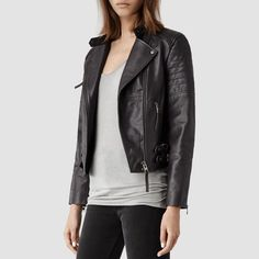 All Saints Leather Jacket Size 2