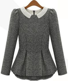 Stylish Peter Pan Collar Long Sleeves Flounce Blouse For WomenVintage Blouses | RoseGal.com