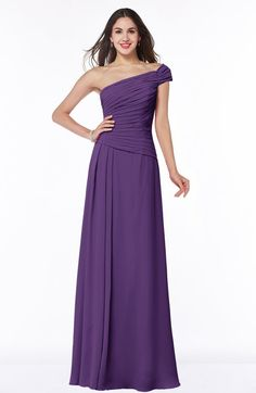 Modern A-line Asymmetric Neckline Chiffon Floor Length Ruching Plus Size Bridesmaid Dresses