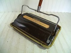 Antique Wood & Metal Carpet Sweeper - Vintage Bissell's New Grand Rapids BiscoMatic - Wooden Handle Manual Rug Cleaner - Self Cleaning Brush $74.00 by DivineOrders