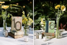 Vintage Wedding Ideas // Books = Table #s