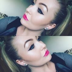 Winged eyeliner & Barbie pink lips on me by me.