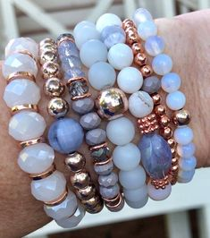 Rose Gold Bracelet Set Gemstone Jewelry Mothers Day Gifts Gift for her Gemstone Jewelry Vintage Jewelry chunky elastic bracelets Gemstone Bracelets, Handmade Bracelets, Bracelet Set, Bracelet Making, Gemstone Jewelry, Handmade Jewelry, Gold Jewelry, Erimish Bracelets, Layering Bracelets