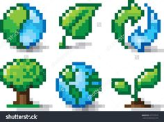 stock-vector-pixel-art-illustration-of-various-icons-relating-to-nature-and-environmental-conservation-isolated-107737673.jpg (1500×1120)
