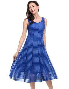Dark blue Sleeveless Hollow Out Striped Flared Swing Going Out Dress