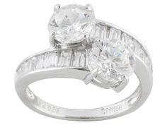 Bella Luce (R) 6.12ctw Diamond Simulant Rhodium Over Sterling Silver Ring (2.32ctw Dew)