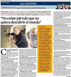 """""""NO EXISTE PÁRVULO QUE NO QUIERA DESCUBRIR EL MUNDO"""". Richard Gerver.  La Contra de La Vanguardia del 10 de marzo de 2015"""