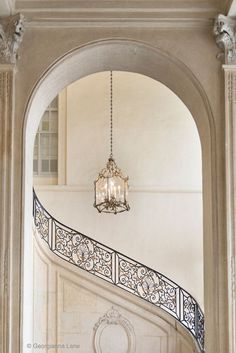 architecture - Paris Photography Musee Rodin Staircase with Chandelier, Neutral Decor, French Home Decor, Large Wall Art European Home Decor, French Home Decor, French Country Interiors, Beautiful Architecture, Interior Architecture, Parisian Architecture, Wrought Iron Staircase, Staircase Diy, Spiral Staircase
