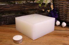Κεριά μασίφ τετράγωνα σε χρώμα λευκό ΤΧ1507ΧΛΕ. Πλευρά: 15εκ. Ύψος: 7εκ. Pillar Candles, Tea Lights, Candle Holders, Tea Light Candles, Porta Velas, Chandelier, Taper Candles, Candlesticks