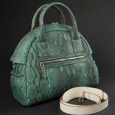 Genuine Python Leather Dark Green Satchel Bag - Rossieviren