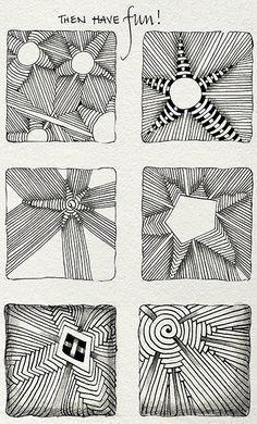 Zentangle Aruka variation tutorial how to Zentangle Drawings, Doodles Zentangles, Doodle Drawings, Tangle Doodle, Zen Doodle, Doodle Art, Zantangle Art, Zen Art, Doodle Patterns
