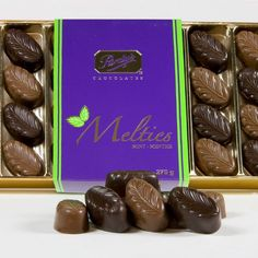 Mint Melties – Milk & Dark Chocolate Purdy's Mint Melties are perfect for any mint lover. The fresh mint taste, combined with Purdy's world famous milk and dark chocolate, melts in your mouth.