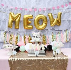 - The Best Cat Party Ideas Cat Birthday, 6th Birthday Parties, Girl First Birthday, Birthday Ideas, Happy Birthday, Kitty Party, Fete Emma, Cat Themed Parties, First Birthdays