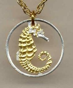 Gold on Silver Cut Coin Singapore 10¢ Seahorse Necklace with Rim and No Bezel