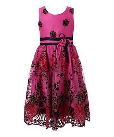Love this Fuchsia & Black Floral Dress - Toddler & Girls on #zulily! #zulilyfinds