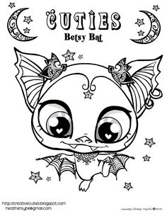 printable bat pictures color pages | In honor of my favorite holiday, here is a new pet Betsy the bat who ...