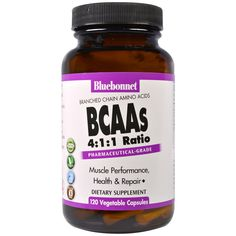 Bluebonnet Nutrition, BCAAs 4:1:1 Ratio (Branched Chain Amino Acids), 120 Veggie Caps
