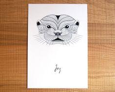 Otter of Joy // Geometric Print // Black and White Home Decor // Digital Print // Wall Art
