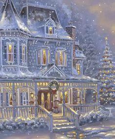 Winter Christmas Scenes, Merry Christmas Gif, Vintage Christmas Cards, Christmas Art, Christmas And New Year, All Things Christmas, White Christmas, Christmas Decorations, Christmas Recipes