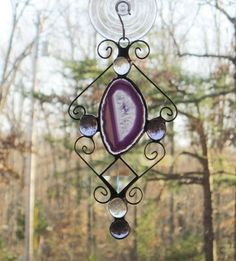 Stained Glass Suncatcher - Purple Agate, Wire, Bevel, with Lilac and Clear Nuggets. $14.00, via Etsy.
