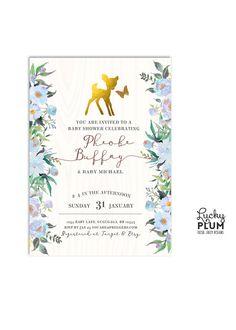 Deer Baby Shower Invitation / Bambi Baby Shower by LuckyPlumStudio