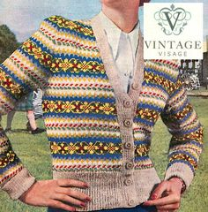 Vintage Knitting Pattern-how to Make a Fair Isle Design Ladies Cardigan for sale online Fair Isle Knitting Patterns, Fair Isle Pattern, Knit Patterns, Vintage Patterns, Vintage Knitting, Hand Knitting, Ravelry, Fair Isles, Cardigans For Women