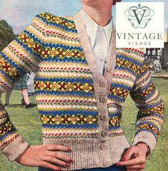 INStANT DOWNLOAD- Vintage Visage knitting pattern- fair isle cardigan pdf email delivery