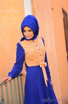 2014 Yazlık ZRF Tesettür Elbise 9049-01 Saks