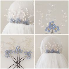 Hermione Harbutt Bespoke Forget Me Not Hair Pins | http://www.hermioneharbutt.com/wedding/hair_accessories/