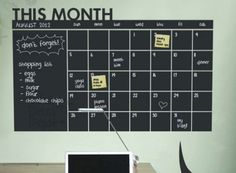 Keep track of your 2015 schedule and to-do list with this chalkboard calendar wall decal.
