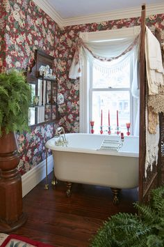 Victorian Bath. The master bath décor incorporates two of Barbara Hart's loves: architectural salvage and vintage linens. .