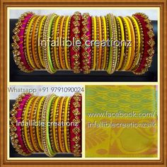 """To order Whatsapp +91 9791090024 For more collections visit """"www.facebook.com/infalliblecreationzsilk"""".      Silk Thread jewelry, silk thread bangles, silk thread bridal bangles, wedding bangles, silk thread bangles wholesale, engagement bangles, Grand silk thread bangles, bangles, seemandham bangles, return gifts, party wear bangles, gifts for girls, gifts for women, party wear bangles, silk Thread jewelry, silk thread jewellery, handmade jewelry, infallible creationz, Silk Thread Bangles Design, Silk Bangles, Bridal Bangles, Thread Jewellery, Bridal Jewelry, Bangle Set, Bangle Bracelets, Hand Jewelry, Handmade Jewelry"""
