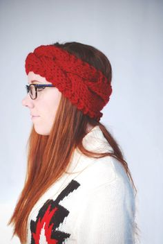 Hand Knit Red Braided Headband : Anthropoligie Inspired // holiday and christmas gift
