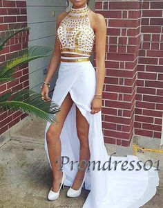 Unique design beaded high neck two pieces chiffon prom dress with slit, long evening dress for teens #coniefox