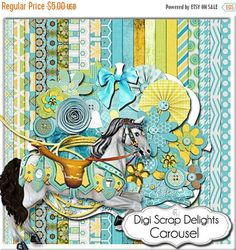 50% OFF TODAY Carousel Digital Scrapbook Kit in Turquoise, Gold, Green for Card Making, Web Design, Crafts, Teacher Projects, Instant Download  #scrapbooking #clipart