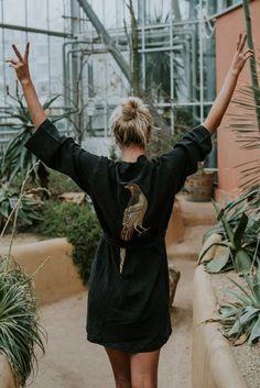 Le Voyage Kimono // The Pheasant in Black – Beach Kaftan, Cotton Kimono, Beach Accessories, Embroidery Fashion, Beach Shoes, Beach Covers, Keep Your Cool, Pheasant, Your Best Friend