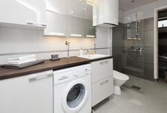 All in same space Bathroom Inspiration, Bathroom Ideas, Home And Living, Washing Machine, Laundry, Home Appliances, Dining, Space, Laundry Room