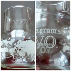 70s V.O. Seagram's Etched world map clear glass decanter by LoukiesWorld on Etsy