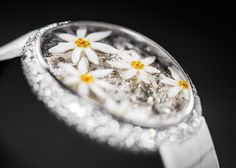 Edelsnow is an exquisitely crafted fresh and delightful ladies' timepiece. The iconic Edelweiss gleams within its this frosty Alpine miniature world. Art Watch, Art Pieces, Jewelry Watches, Carving, Pearl, Fresh, Lady, Unique, Collection