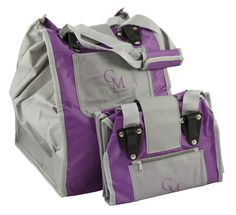 CarryMore Reusable Sturdy Shopping Bags - 2-Pack - Purple/Gray, Black/Gray, or Brown/Black