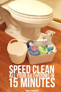 Zip through your bathrooms in no time flat. Speed Clean All Your Bathrooms in 15 Minutes via Clean Mama